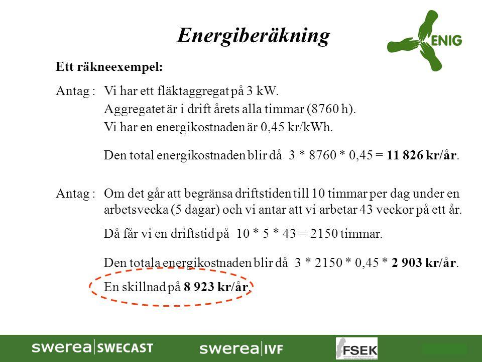 2009-10-08 Energiberäkning Ett räkneexempel: Antag :Vi har ett fläktaggregat på 3 kW. Aggregatet är i drift årets alla timmar (8760 h). Vi har en ener