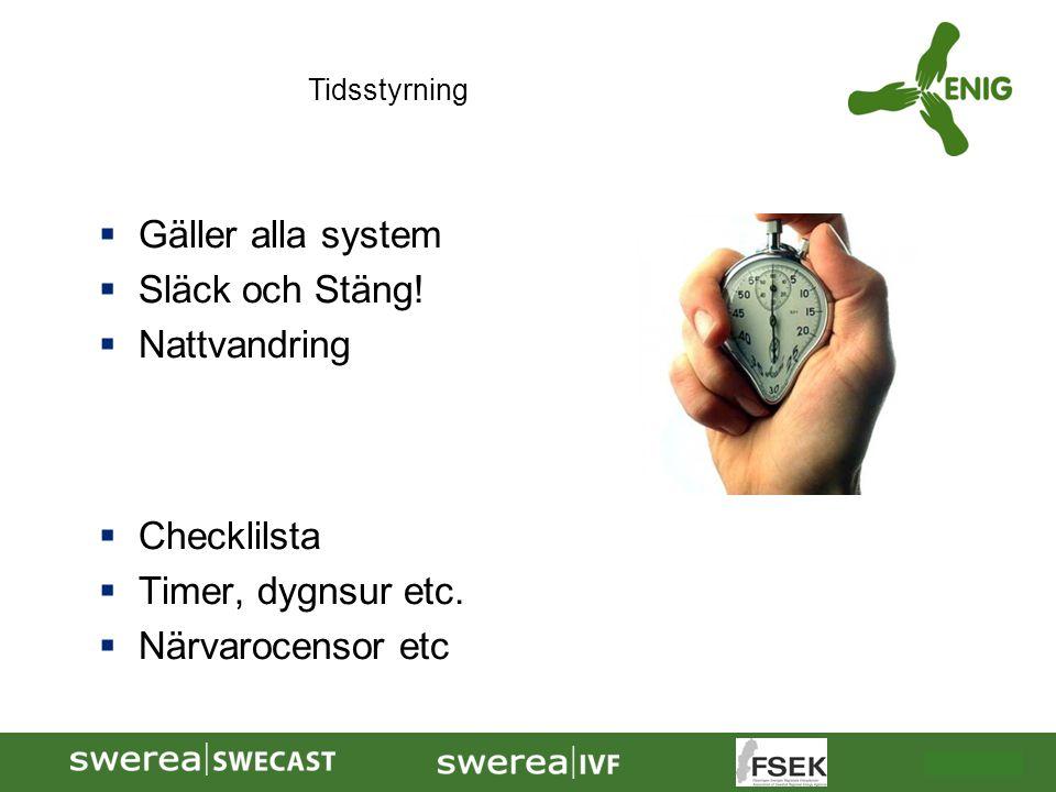 2009-10-08  Gäller alla system  Släck och Stäng!  Nattvandring  Checklilsta  Timer, dygnsur etc.  Närvarocensor etc Tidsstyrning