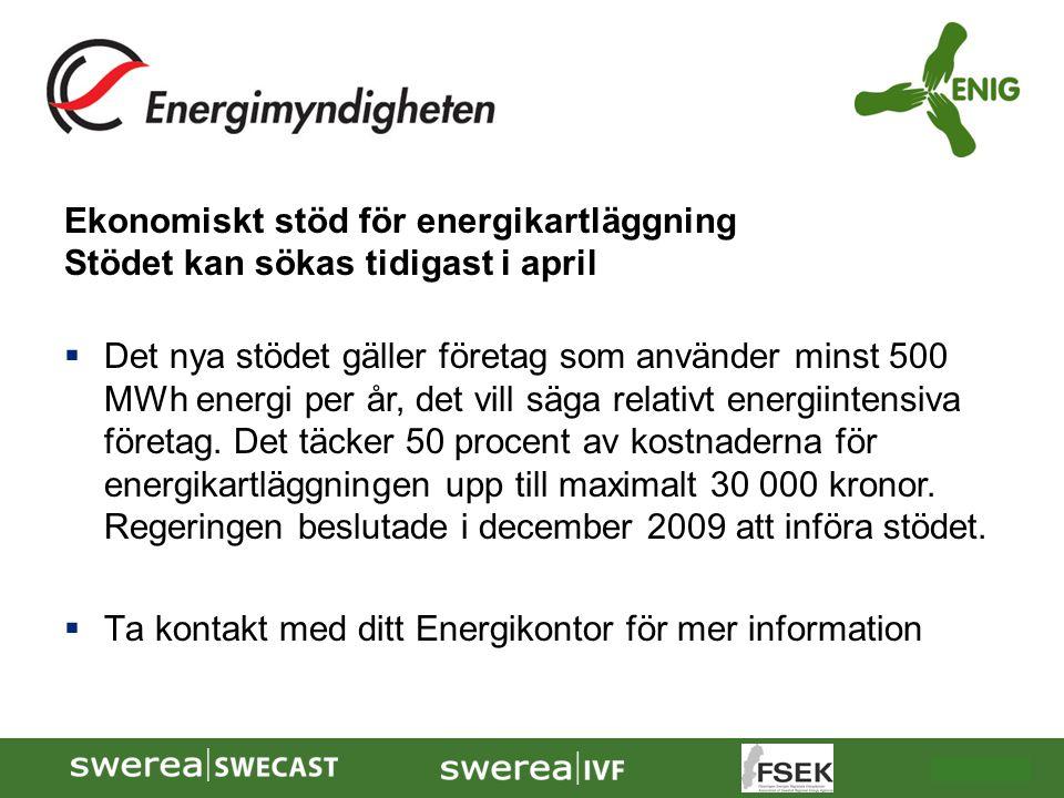 2009-10-08 Ekonomiskt stöd för energikartläggning Stödet kan sökas tidigast i april  Det nya stödet gäller företag som använder minst 500 MWh energi