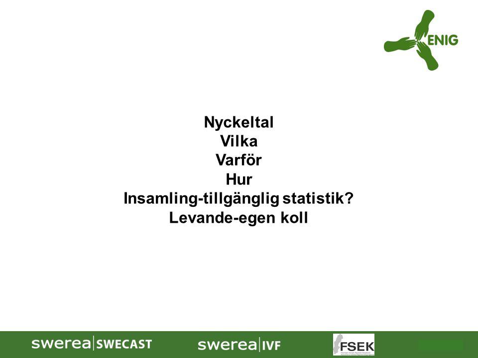 2009-10-08 Nyckeltal Vilka Varför Hur Insamling-tillgänglig statistik? Levande-egen koll
