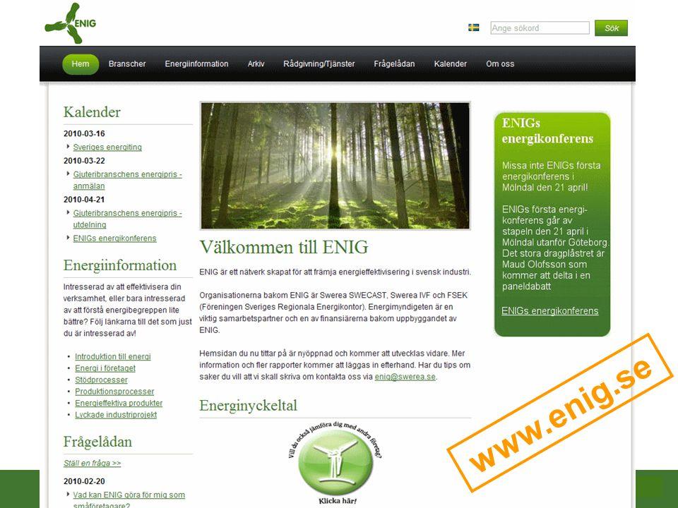 2009-10-08 www.enig.se Definition av nyckeltalen i hjälpfunktionen Företagsnamn och bransch Övergripande företagsdata Inköpt energi och material Användning av energi