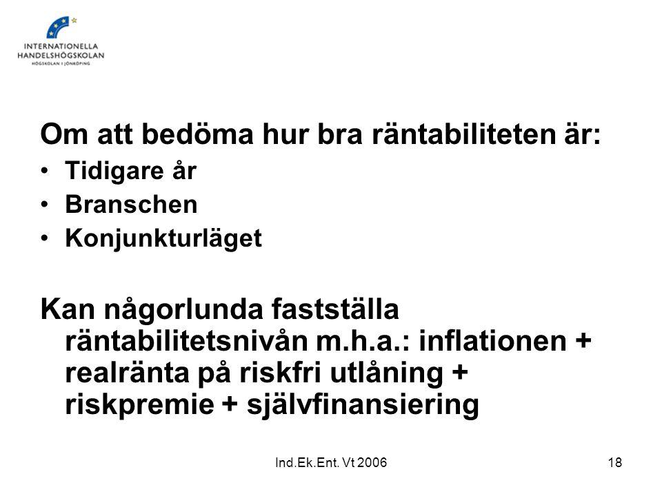 Ind.Ek.Ent. Vt 200618 Om att bedöma hur bra räntabiliteten är: Tidigare år Branschen Konjunkturläget Kan någorlunda fastställa räntabilitetsnivån m.h.