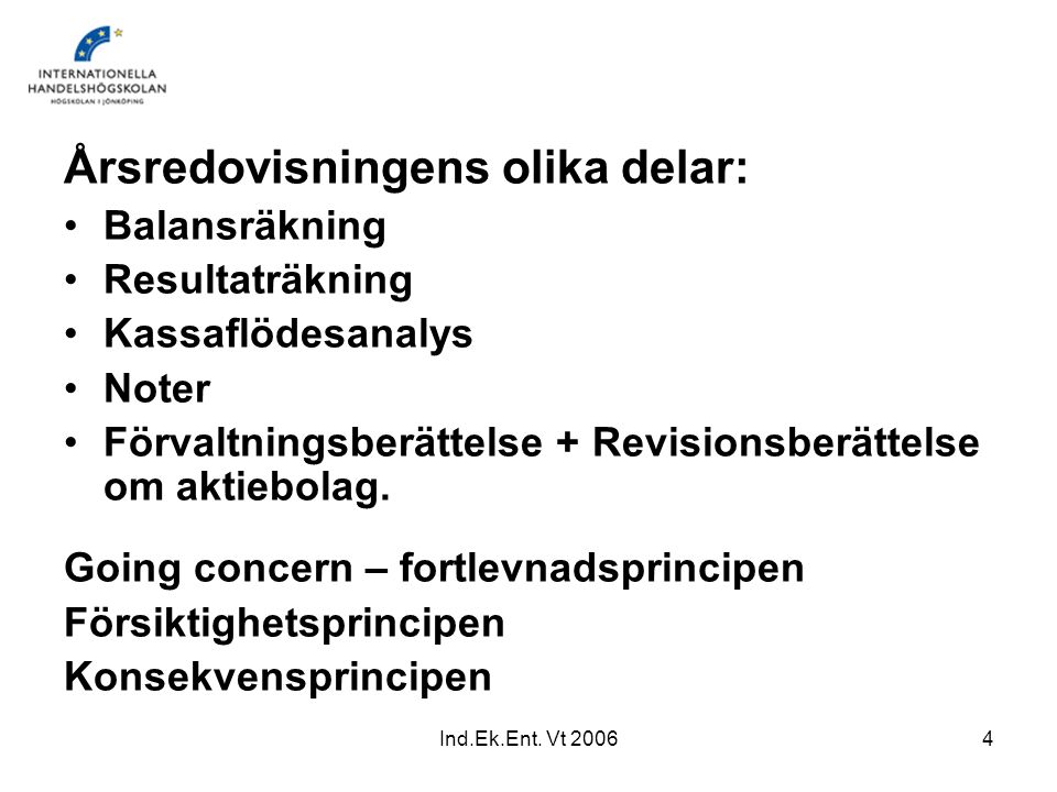 Ind.Ek.Ent. Vt 20064 Årsredovisningens olika delar: Balansräkning Resultaträkning Kassaflödesanalys Noter Förvaltningsberättelse + Revisionsberättelse