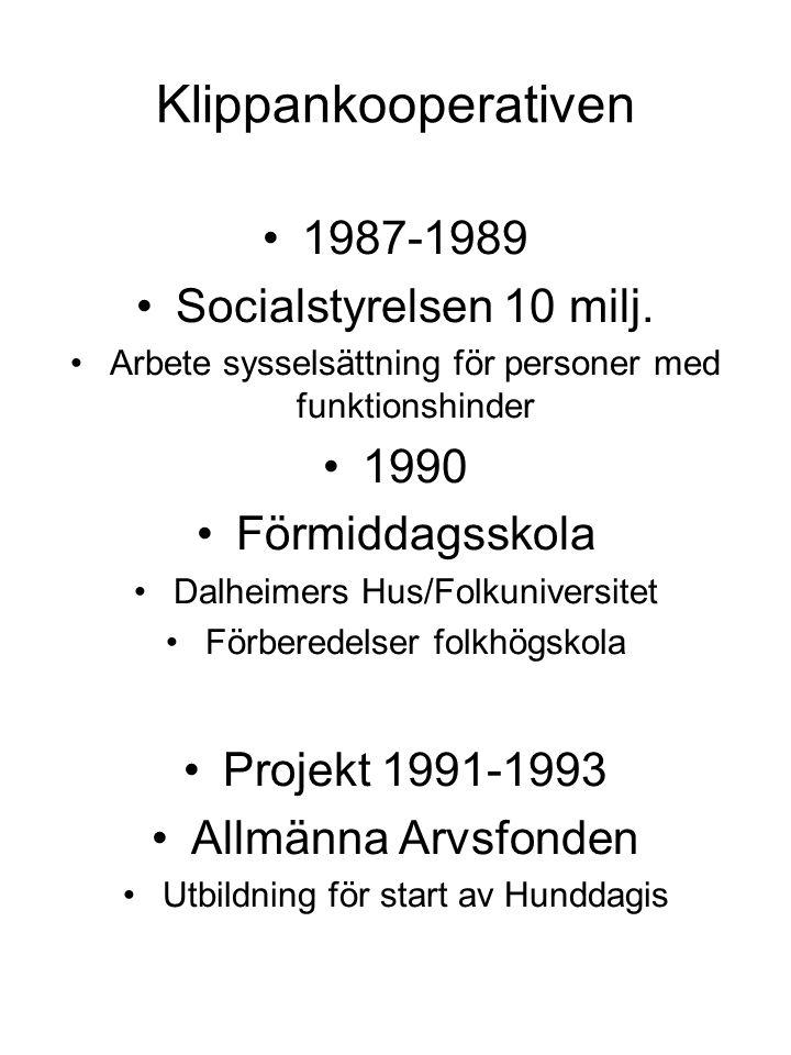 Klippankooperativen 1987-1989 Socialstyrelsen 10 milj. Arbete sysselsättning för personer med funktionshinder 1990 Förmiddagsskola Dalheimers Hus/Folk