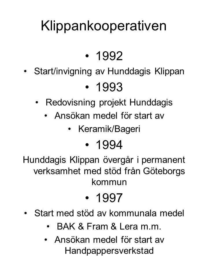 Klippankooperativen 1992 Start/invigning av Hunddagis Klippan 1993 Redovisning projekt Hunddagis Ansökan medel för start av Keramik/Bageri 1994 Hundda