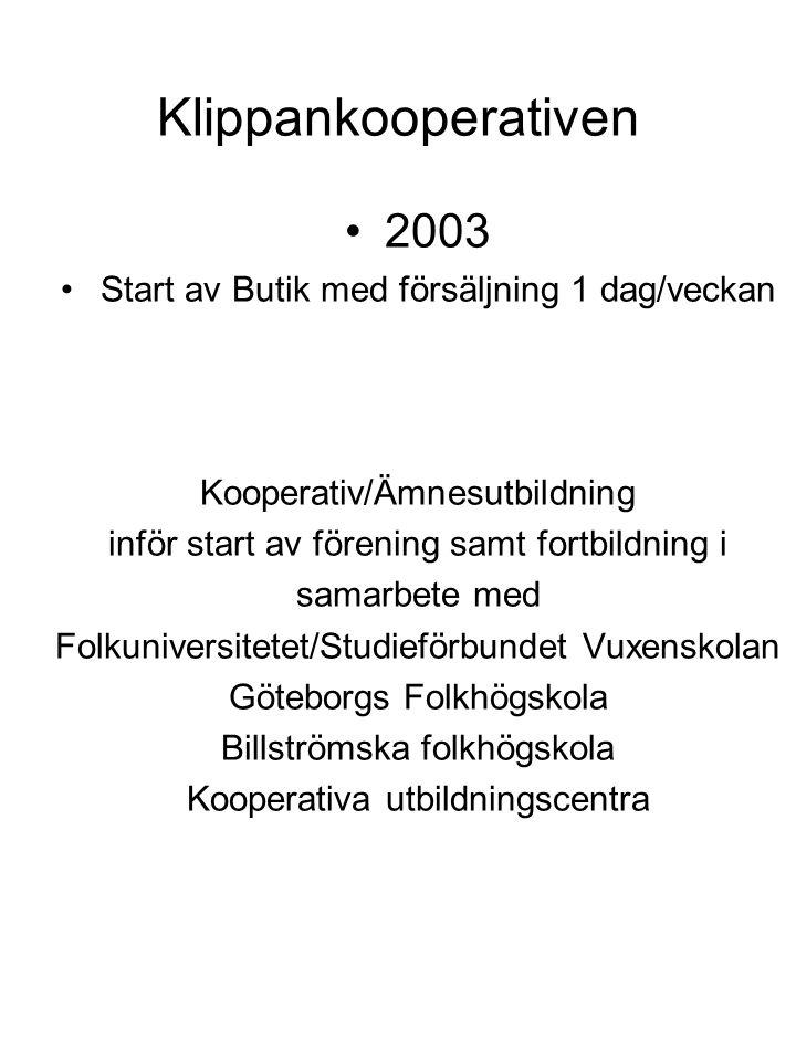 Klippankooperativen 2003 Start av Butik med försäljning 1 dag/veckan Kooperativ/Ämnesutbildning inför start av förening samt fortbildning i samarbete