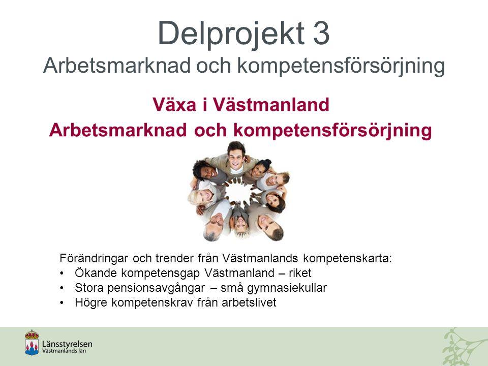 Delprojekt 3 Arbetsmarknad och kompetensförsörjning Förändringar och trender från Västmanlands kompetenskarta: Ökande kompetensgap Västmanland – riket