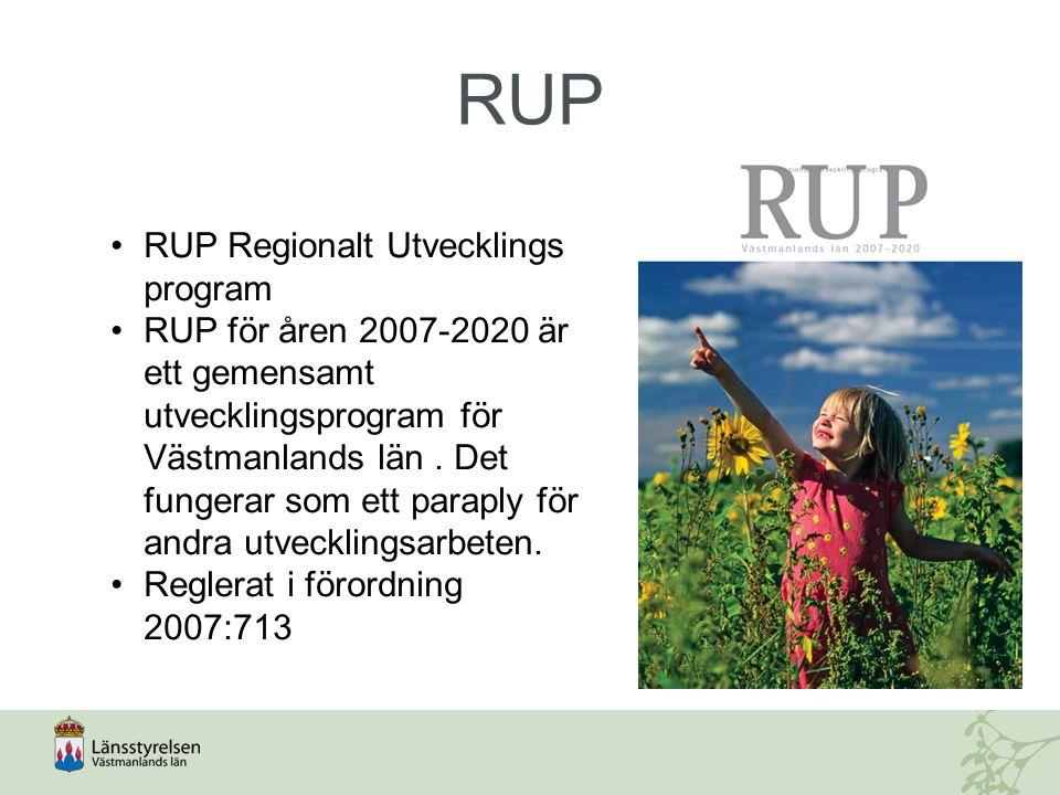 RUP RUP Regionalt Utvecklings program RUP för åren 2007-2020 är ett gemensamt utvecklingsprogram för Västmanlands län. Det fungerar som ett paraply fö