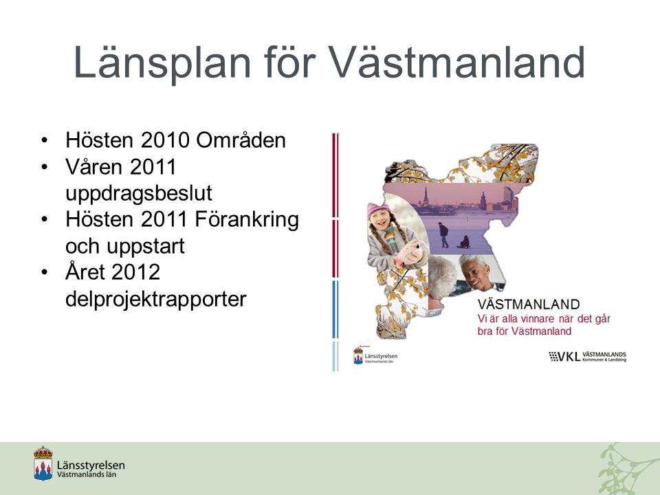 Länsplan för Västmanland Hösten 2010 Områden Våren 2011 uppdragsbeslut Hösten 2011 Förankring och uppstart Året 2012 delprojektrapporter