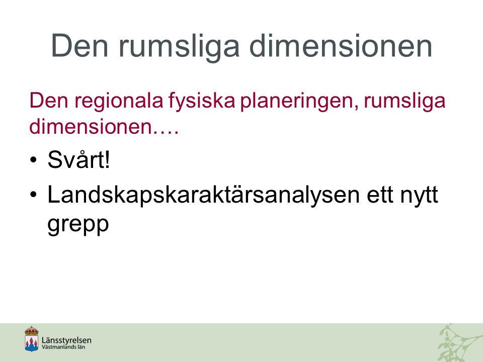 Den rumsliga dimensionen Den regionala fysiska planeringen, rumsliga dimensionen…. Svårt! Landskapskaraktärsanalysen ett nytt grepp