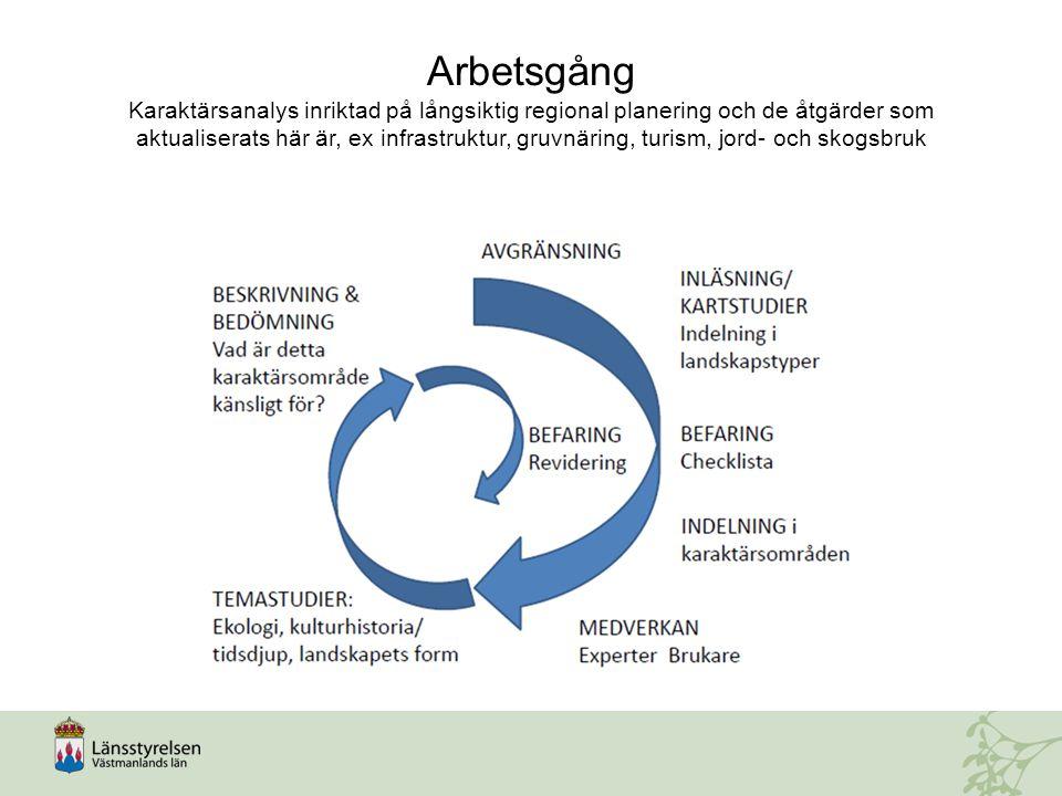 Arbetsgång Karaktärsanalys inriktad på långsiktig regional planering och de åtgärder som aktualiserats här är, ex infrastruktur, gruvnäring, turism, j