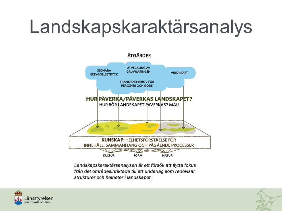 Västmanlands landskapstyper: 1.Sjönära landskap 2.Slättlandskap 3.Vattenrikt kuperat skogslandskap 4.Storskaligt kuperat landskap 5.Åsar och ådalar 6.Småslätter 7.Småbrutet mosaiklandskap