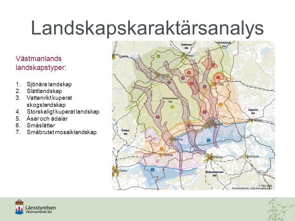 Västmanlands landskapstyper: 1.Sjönära landskap 2.Slättlandskap 3.Vattenrikt kuperat skogslandskap 4.Storskaligt kuperat landskap 5.Åsar och ådalar 6.