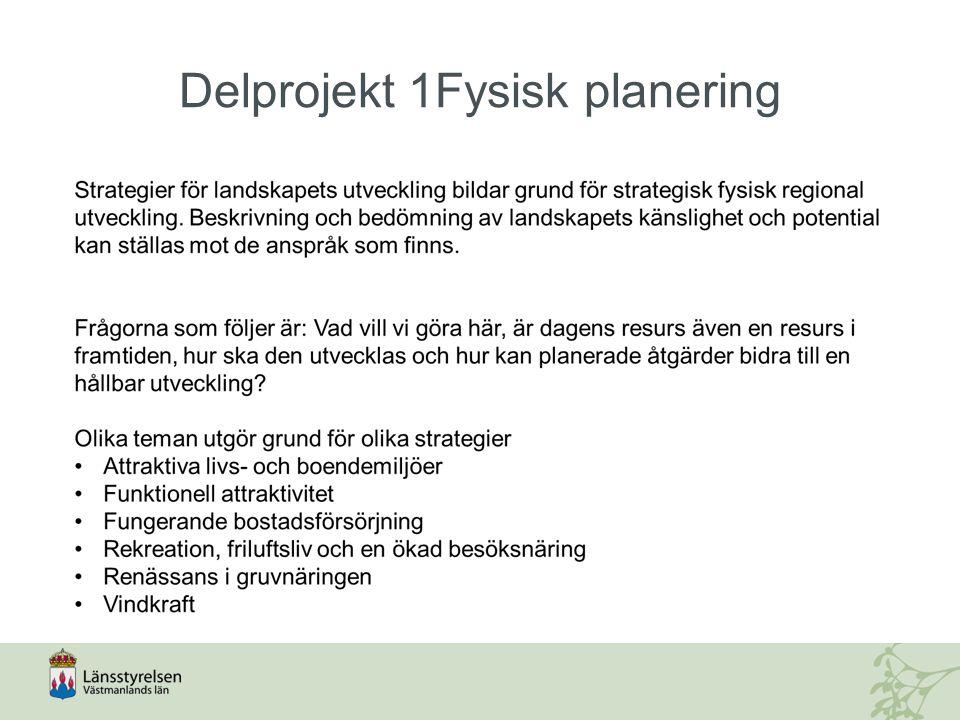Delprojekt 2 Infrastruktur och kommunikationer Förutsättningar för ett funktionellt attraktivt Västmanland med beaktande av klimatmål och en säker och trygg tillgänglighet:  Hög tillgänglighet är en förutsättning för länets utveckling  Tillgänglighet med transporter inom länet och till viktiga destinationer utanför länet ska ökas, så att en balanserad regional utveckling i hela Stockholm- Mälardalen möjliggörs.