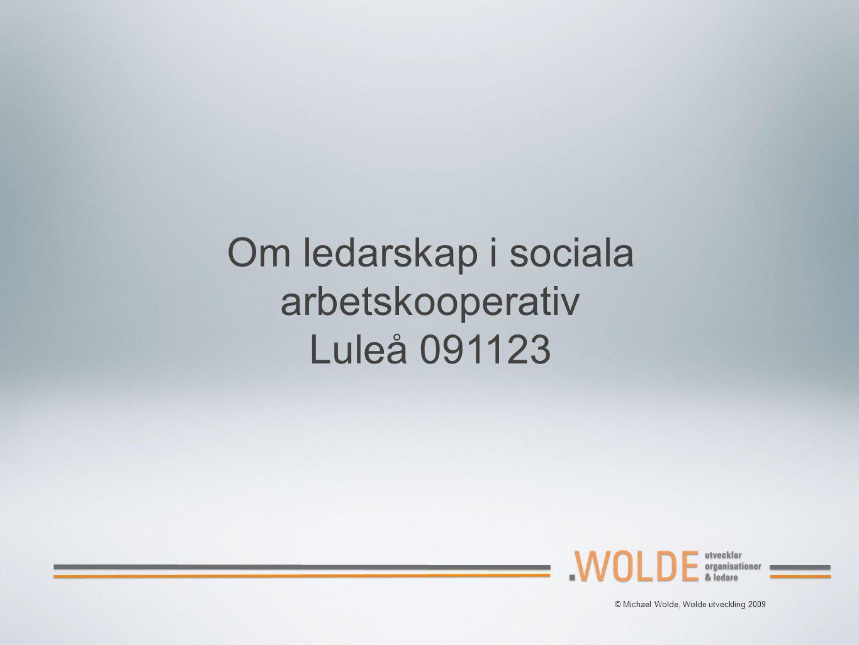 © Michael Wolde, Wolde utveckling 2009 Om ledarskap i sociala arbetskooperativ Luleå 091123
