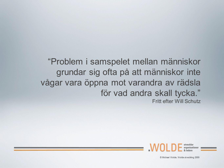 Problem i samspelet mellan människor grundar sig ofta på att människor inte vågar vara öppna mot varandra av rädsla för vad andra skall tycka. Fritt efter Will Schutz © Michael Wolde, Wolde utveckling 2009