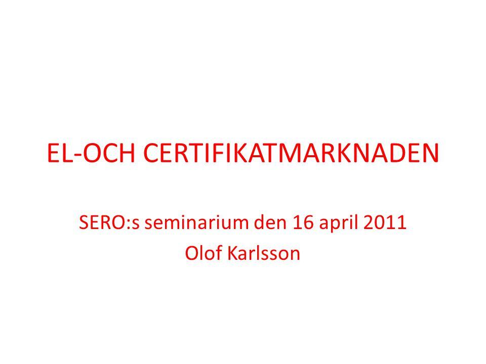 EL-OCH CERTIFIKATMARKNADEN SERO:s seminarium den 16 april 2011 Olof Karlsson