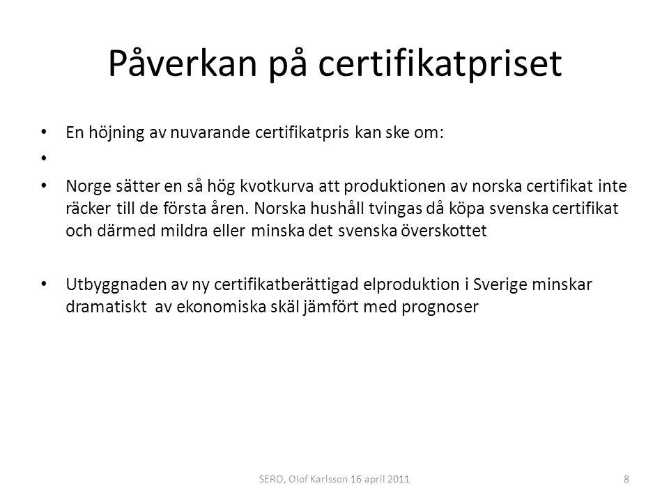 Påverkan på certifikatpriset Oförändrat eller sänkt certifikatpris kan bero på: Överskottet efter annulleringen den 1 april 2011 är 9,5 milj cert värda 1,9 miljarder kr enligt 200 kr per cert ( 20 öre/kWh).