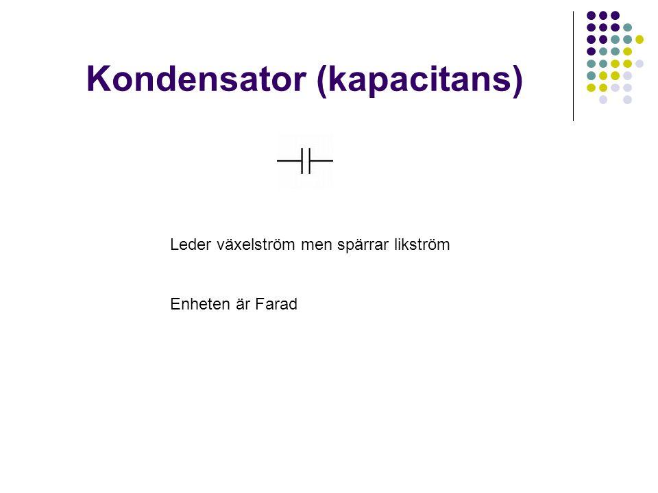 Kondensator (kapacitans) Leder växelström men spärrar likström Enheten är Farad