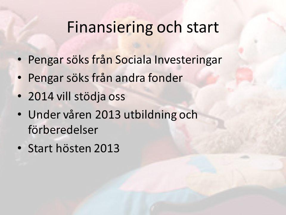 Pengar söks från Sociala Investeringar Pengar söks från andra fonder 2014 vill stödja oss Under våren 2013 utbildning och förberedelser Start hösten 2013 Finansiering och start