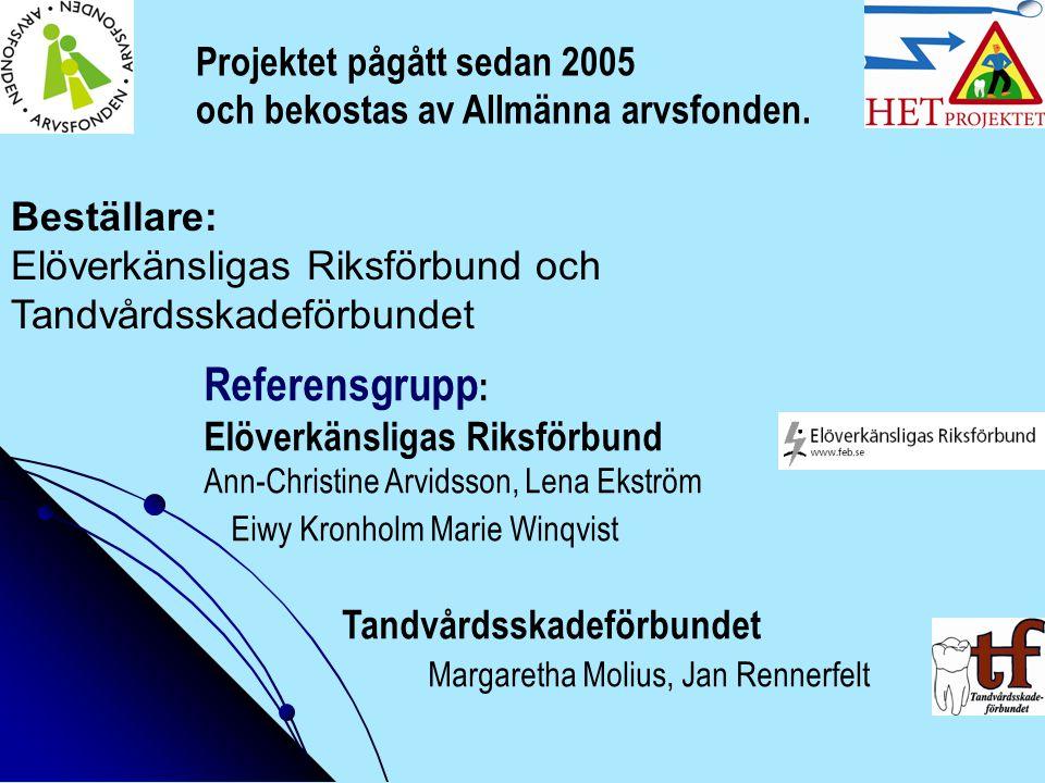 Beställare: Elöverkänsligas Riksförbund och Tandvårdsskadeförbundet Referensgrupp : Elöverkänsligas Riksförbund Ann-Christine Arvidsson, Lena Ekström