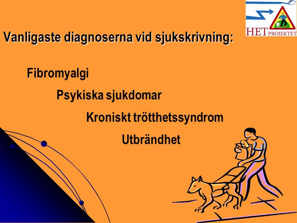 Vanligaste diagnoserna vid sjukskrivning: Fibromyalgi Psykiska sjukdomar Kroniskt trötthetssyndrom Utbrändhet