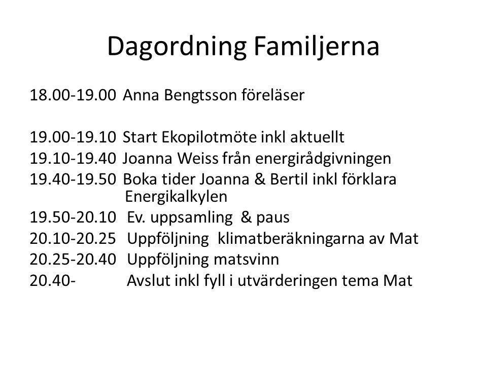 Dagordning Familjerna 18.00-19.00 Anna Bengtsson föreläser 19.00-19.10 Start Ekopilotmöte inkl aktuellt 19.10-19.40 Joanna Weiss från energirådgivning