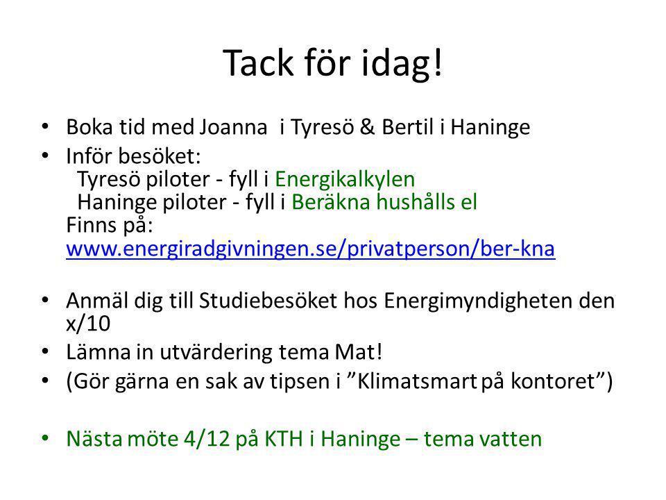 Tack för idag! Boka tid med Joanna i Tyresö & Bertil i Haninge Inför besöket: Tyresö piloter - fyll i Energikalkylen Haninge piloter - fyll i Beräkna