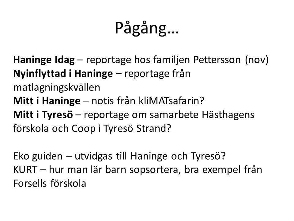 Pågång… Haninge Idag – reportage hos familjen Pettersson (nov) Nyinflyttad i Haninge – reportage från matlagningskvällen Mitt i Haninge – notis från kliMATsafarin.
