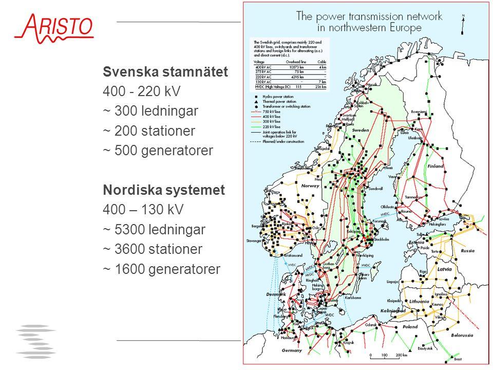Svenska stamnätet 400 - 220 kV ~ 300 ledningar ~ 200 stationer ~ 500 generatorer Nordiska systemet 400 – 130 kV ~ 5300 ledningar ~ 3600 stationer ~ 16