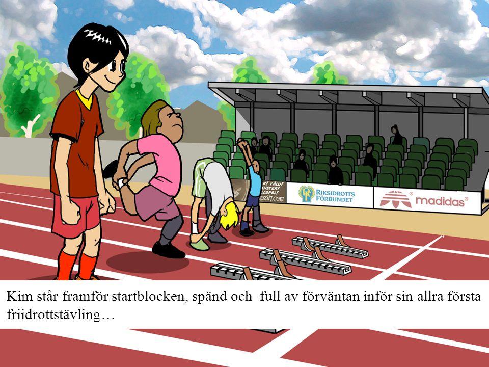 Kim står framför startblocken, spänd och full av förväntan inför sin allra första friidrottstävling…