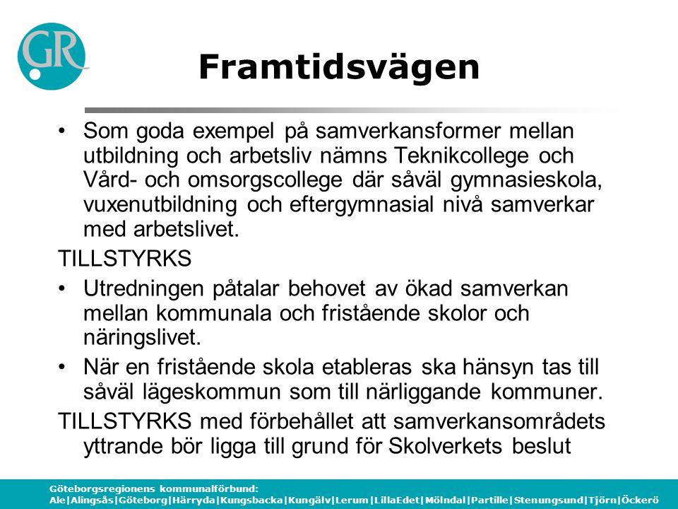 Göteborgsregionens kommunalförbund: Ale|Alingsås|Göteborg|Härryda|Kungsbacka|Kungälv|Lerum|LillaEdet|Mölndal|Partille|Stenungsund|Tjörn|Öckerö Framtidsvägen Gymnasieskolans uppdrag kräver samverkan regionalt med både arbetsliv och högskolesektor.