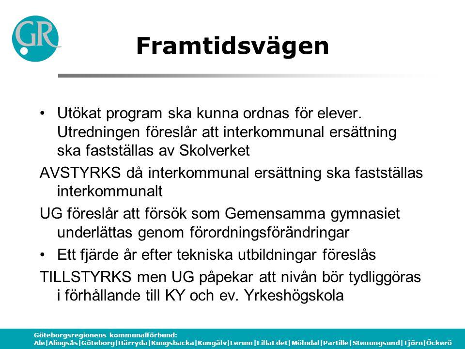 Göteborgsregionens kommunalförbund: Ale|Alingsås|Göteborg|Härryda|Kungsbacka|Kungälv|Lerum|LillaEdet|Mölndal|Partille|Stenungsund|Tjörn|Öckerö Framtidsvägen Generella kompetenser och EU:s nyckelkompetenser nämns, men UG påpekar att fokus ligger på anställningsbarhet och önskar tydligare förslag kring företagsamhet ur ett regionalt tillväxtperspektiv Arbetsplatsförlagt lärande ska omfatta minst 15 veckor för att ett program ska får starta.