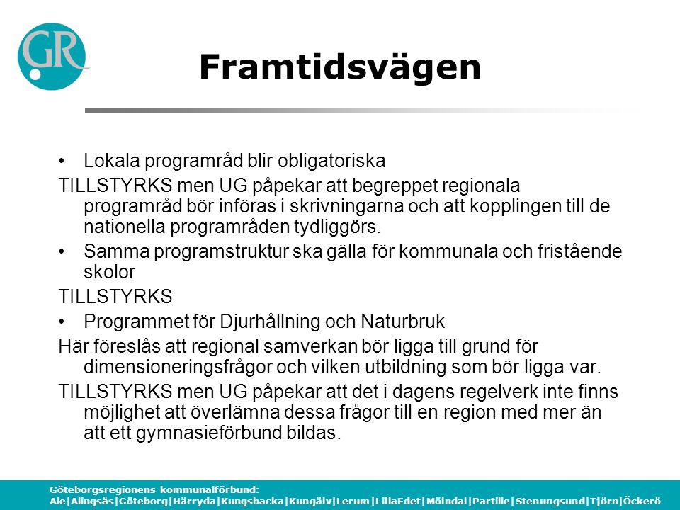 Göteborgsregionens kommunalförbund: Ale|Alingsås|Göteborg|Härryda|Kungsbacka|Kungälv|Lerum|LillaEdet|Mölndal|Partille|Stenungsund|Tjörn|Öckerö Framtidsvägen Regionala programråd för högskoleförberedande utbildningar.