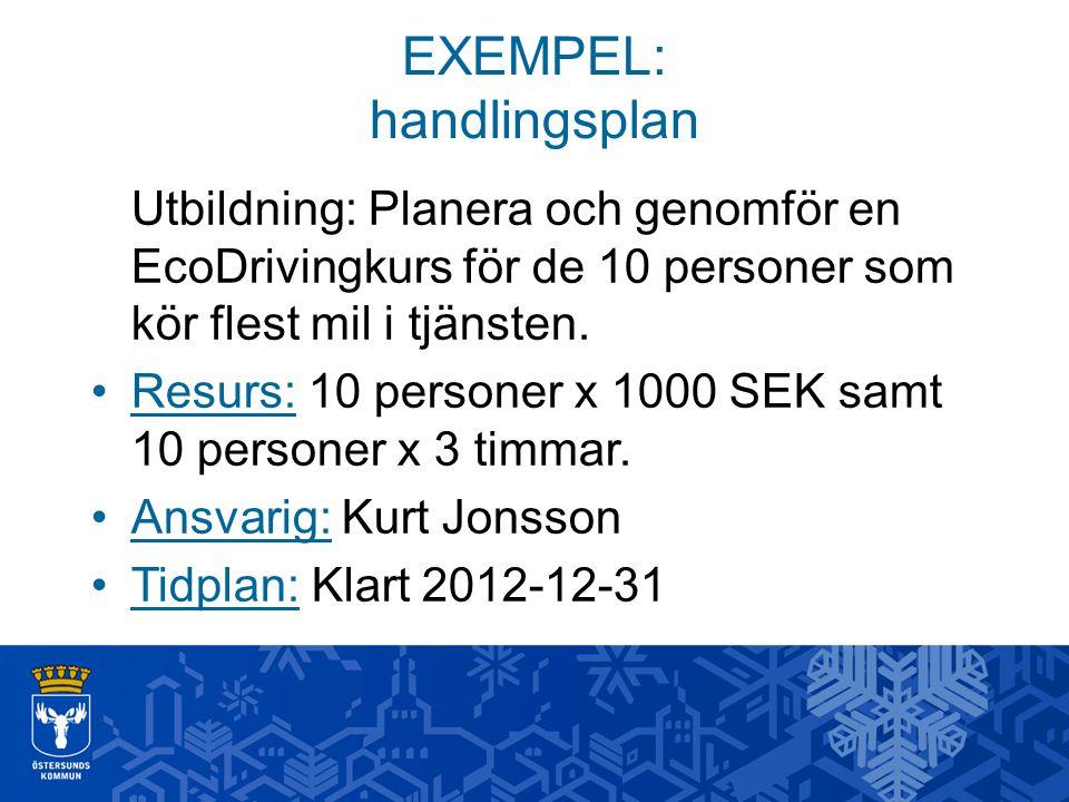 EXEMPEL: handlingsplan Utbildning: Planera och genomför en EcoDrivingkurs för de 10 personer som kör flest mil i tjänsten. Resurs: 10 personer x 1000