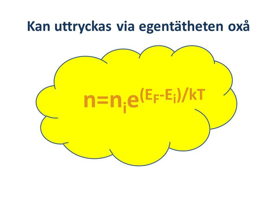 Kan uttryckas via egentätheten oxå n=n i e (E F -E i )/kT