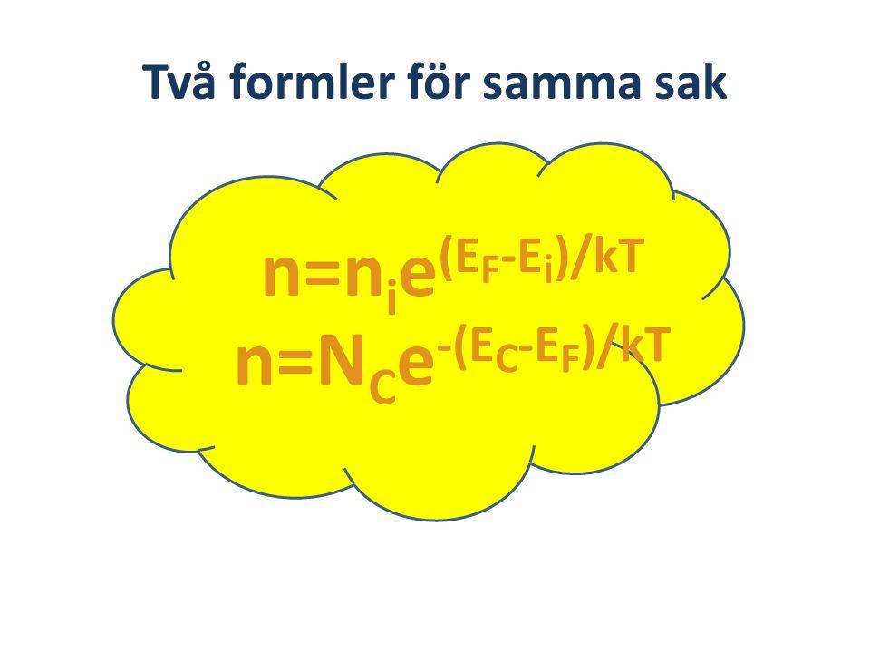 Två formler för samma sak n=n i e (E F -E i )/kT n=N C e -(E C -E F )/kT