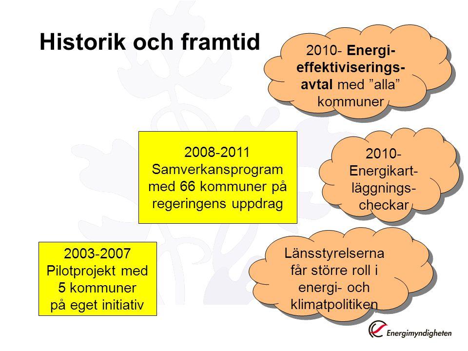Historik och framtid 2003-2007 Pilotprojekt med 5 kommuner på eget initiativ 2008-2011 Samverkansprogram med 66 kommuner på regeringens uppdrag 2010-