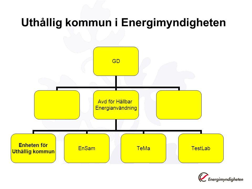 Uthållig kommun i Energimyndigheten GD Avd för Hållbar Energianvändning Enheten för Uthållig kommun EnSamTeMaTestLab