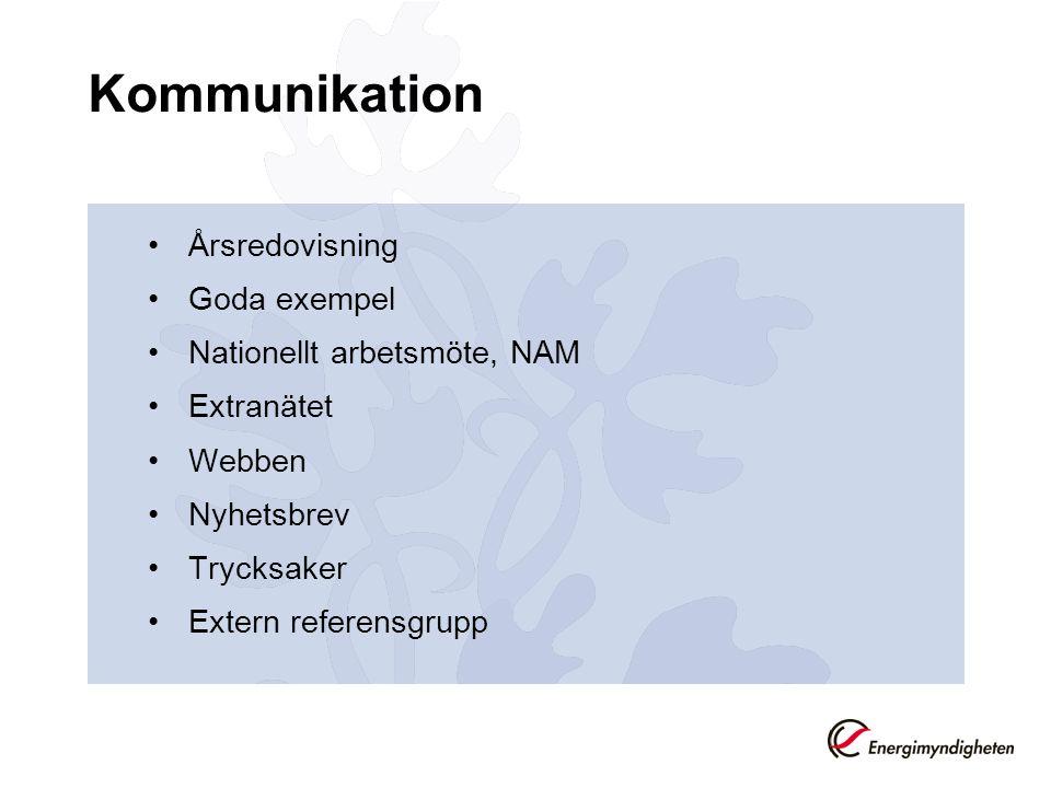 Kommunikation Årsredovisning Goda exempel Nationellt arbetsmöte, NAM Extranätet Webben Nyhetsbrev Trycksaker Extern referensgrupp