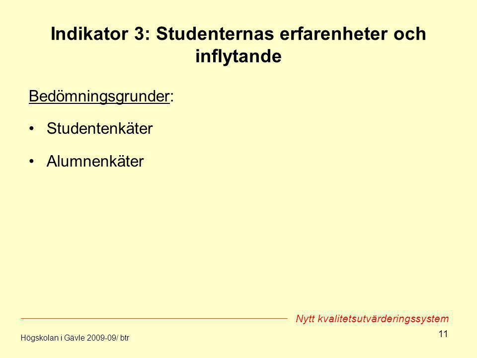 11 Indikator 3: Studenternas erfarenheter och inflytande Bedömningsgrunder: Studentenkäter Alumnenkäter Högskolan i Gävle 2009-09/ btr Nytt kvalitetsu