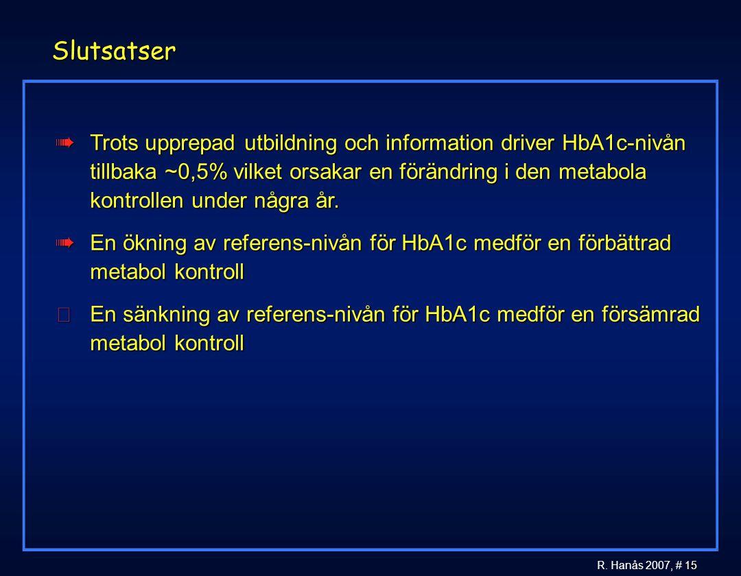 15 R. Hanås 2007, # 15 Slutsatser àTrots upprepad utbildning och information driver HbA1c-nivån tillbaka ~0,5% vilket orsakar en förändring i den meta