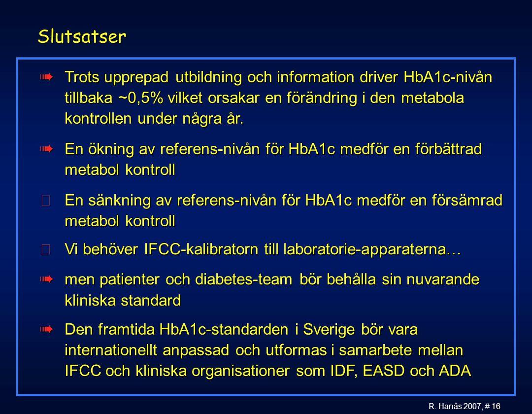 16 R. Hanås 2007, # 16 Slutsatser àTrots upprepad utbildning och information driver HbA1c-nivån tillbaka ~0,5% vilket orsakar en förändring i den meta