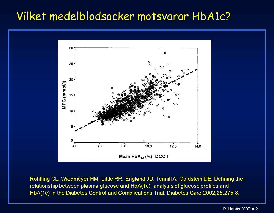 2 R. Hanås 2007, # 2 Vilket medelblodsocker motsvarar HbA1c? Rohlfing CL, Wiedmeyer HM, Little RR, England JD, Tennill A, Goldstein DE. Defining the r