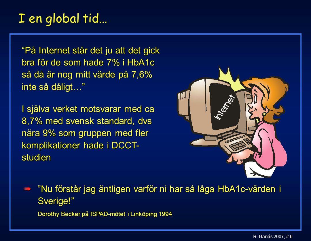 """6 R. Hanås 2007, # 6 I en global tid… """"På Internet står det ju att det gick bra för de som hade 7% i HbA1c så då är nog mitt värde på 7,6% inte så dål"""