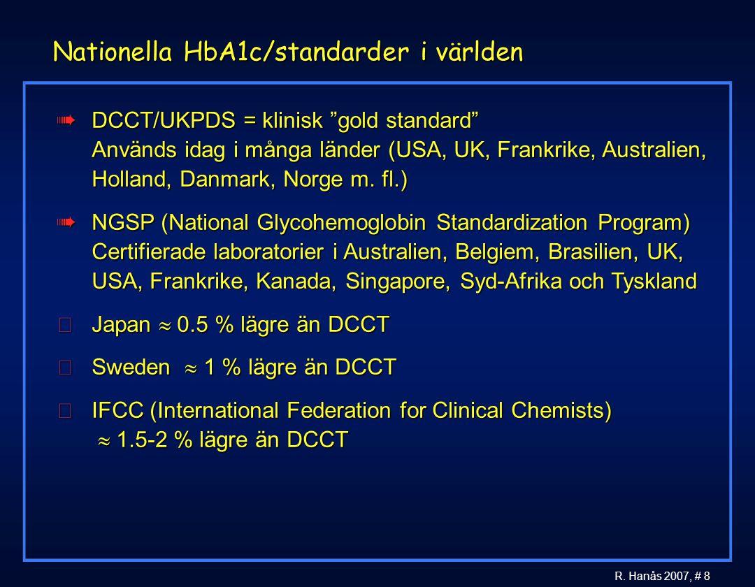 """8 R. Hanås 2007, # 8 Nationella HbA1c/standarder i världen àDCCT/UKPDS = klinisk """"gold standard"""" Används idag i många länder (USA, UK, Frankrike, Aust"""