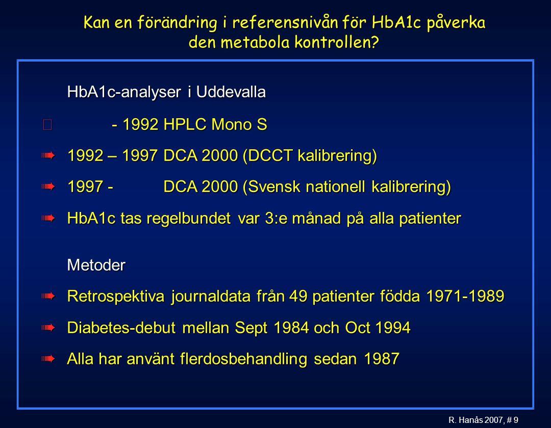 9 R. Hanås 2007, # 9 Kan en förändring i referensnivån för HbA1c påverka den metabola kontrollen?  HbA1c-analyser i Uddevalla  - 1992 HPLC Mono S à1