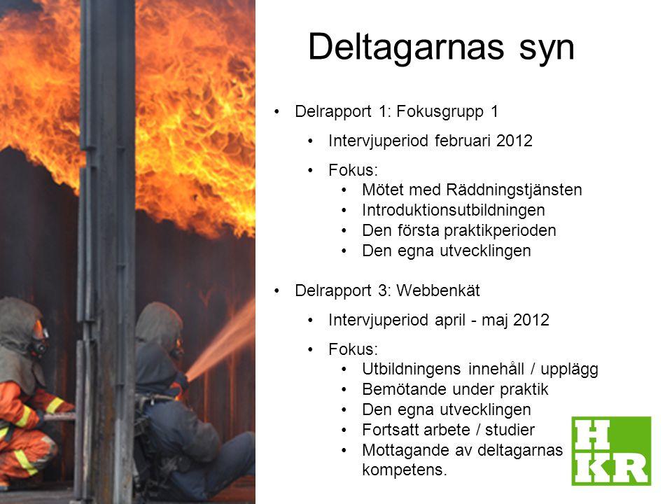 Deltagarnas syn 2 Delrapport 1: Fokusgrupp 1 Intervjuperiod februari 2012 Fokus: Mötet med Räddningstjänsten Introduktionsutbildningen Den första prak