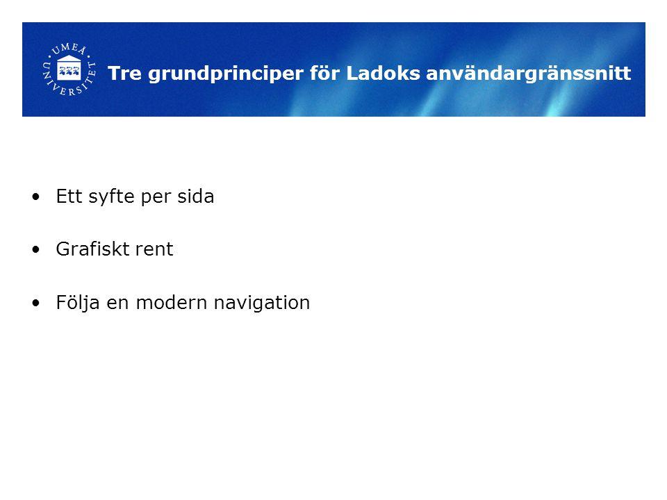 Tre grundprinciper för Ladoks användargränssnitt Ett syfte per sida Grafiskt rent Följa en modern navigation