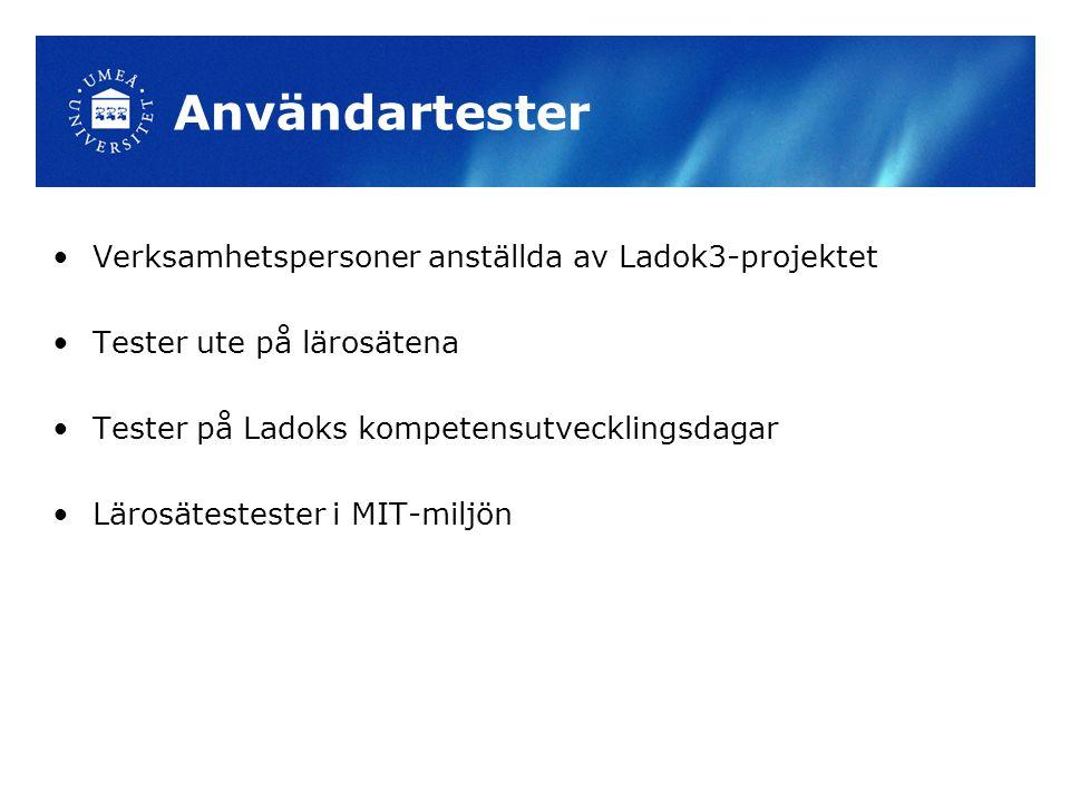 Användartester Verksamhetspersoner anställda av Ladok3-projektet Tester ute på lärosätena Tester på Ladoks kompetensutvecklingsdagar Lärosätestester i